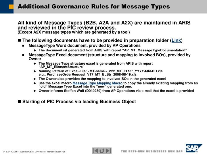 Additional Governance Rules for Message Types