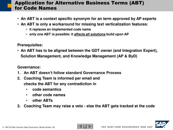 Application for Alternative Business Terms (ABT)