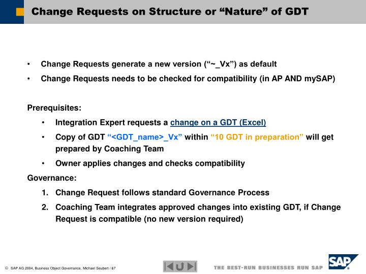 """Change Requests on Structure or """"Nature"""" of GDT"""