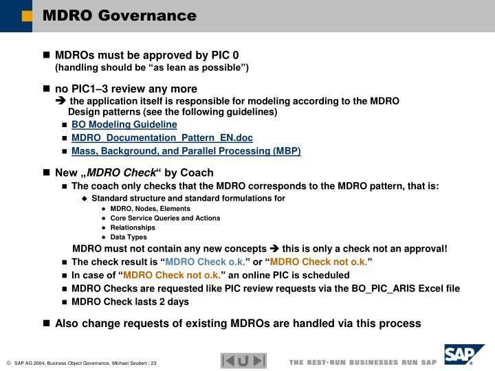 MDRO Governance