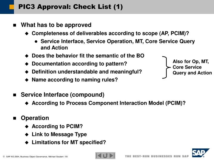 PIC3 Approval: Check List (1)