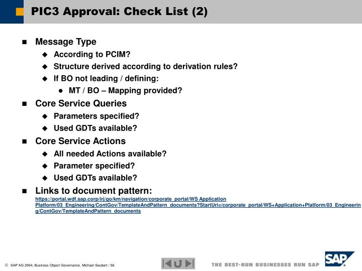PIC3 Approval: Check List (2)