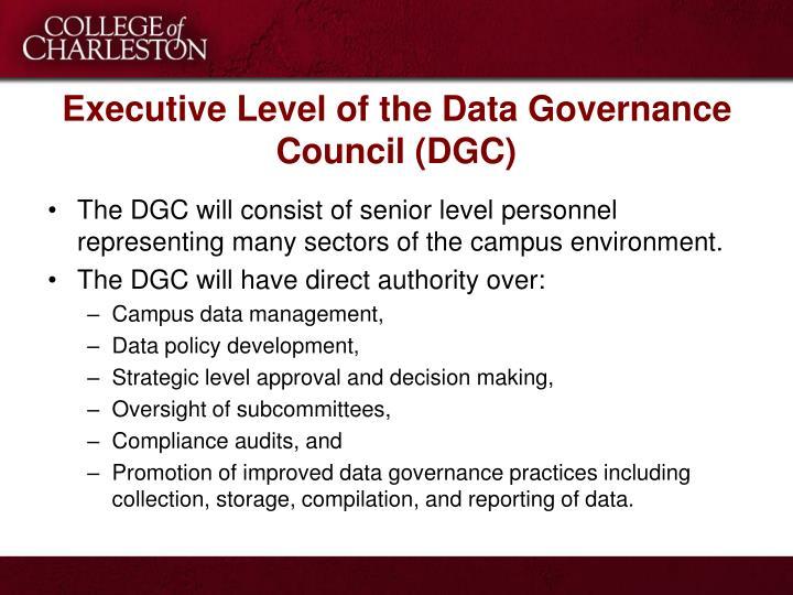 Executive Level of the Data Governance Council (DGC)