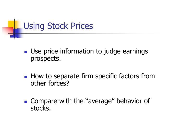 Using Stock Prices