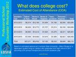 what does college cost estimated cost of attendance coa