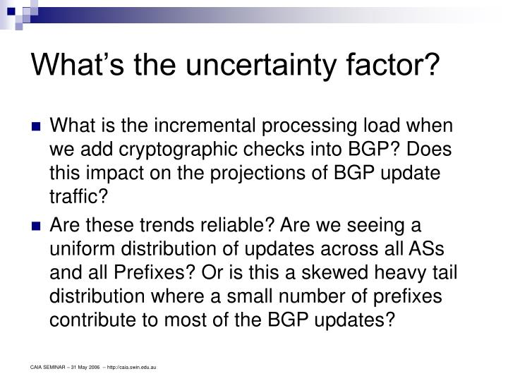 What's the uncertainty factor?