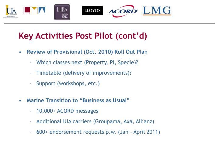 Key Activities Post Pilot (cont'd)