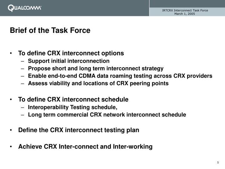 IRTCRX Interconnect Task Force