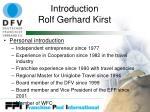 introduction rolf gerhard kirst