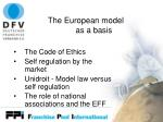 the european model as a basis
