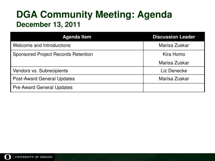 Dga community meeting agenda december 13 2011