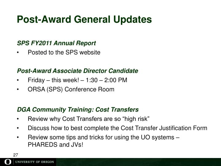 Post-Award General Updates