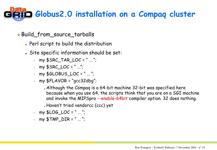 Globus2.0 installation on a Compaq cluster