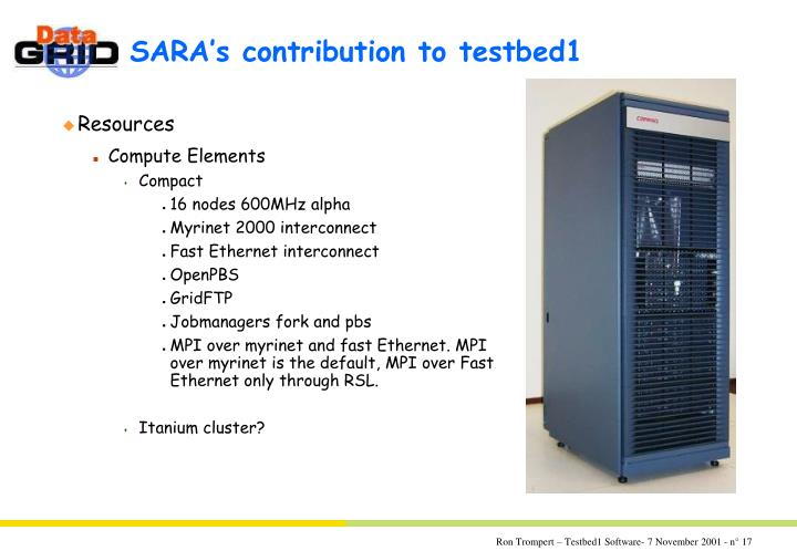 SARA's contribution to testbed1