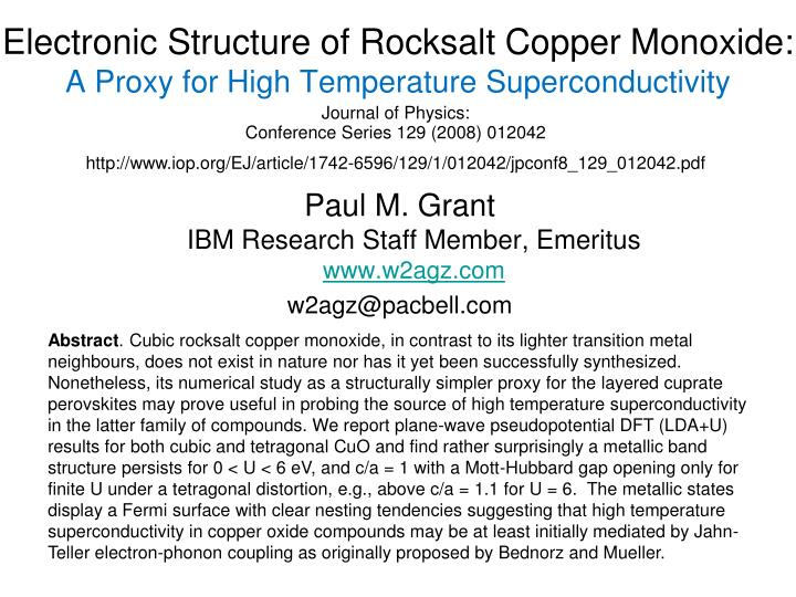 electronic structure of rocksalt copper monoxide a proxy for high temperature superconductivity n.