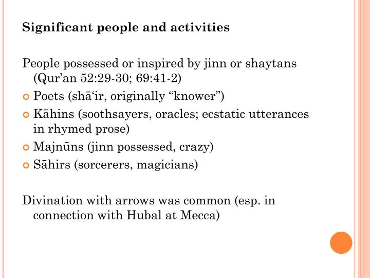 Significant people and activities