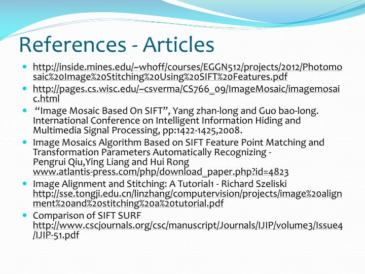 References - Articles