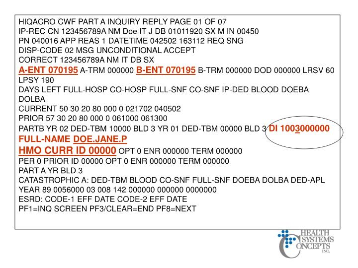 HIQACRO CWF PART A INQUIRY REPLY PAGE 01 OF 07