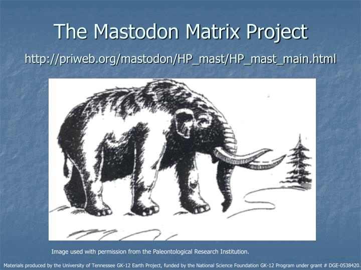 The mastodon matrix project http priweb org mastodon hp mast hp mast main html