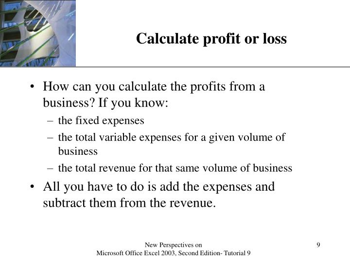 Calculate profit or loss