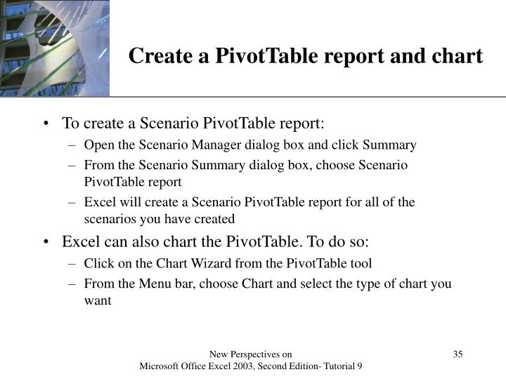 Create a PivotTable report and chart