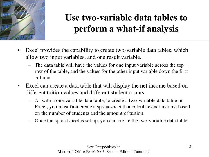 Use two-variable data tables to perform a what-if analysis