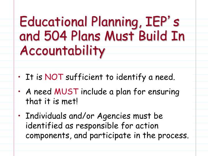 Educational Planning, IEP