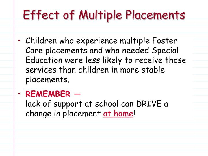 Effect of Multiple Placements