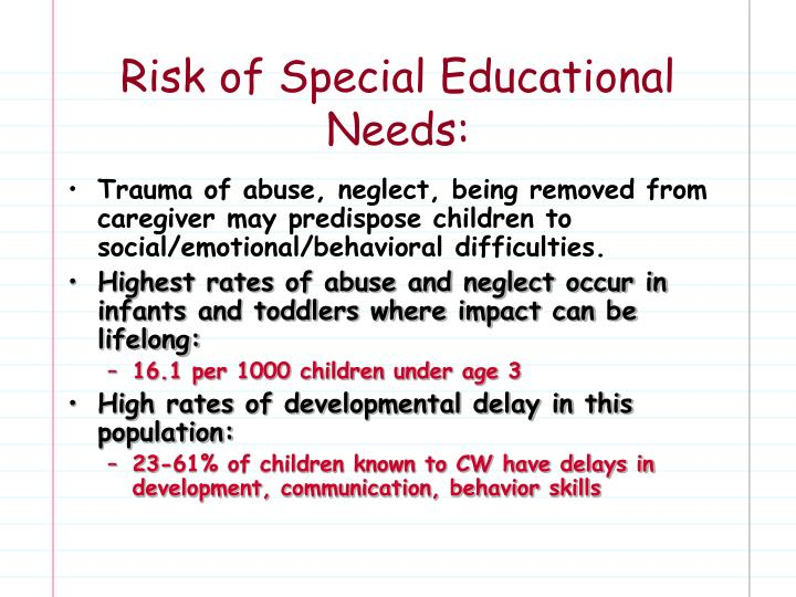 Risk of Special Educational Needs:
