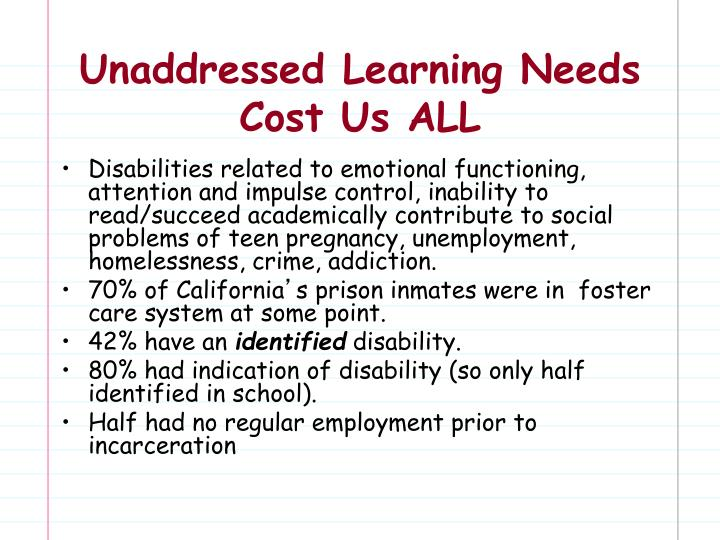 Unaddressed Learning Needs Cost Us ALL