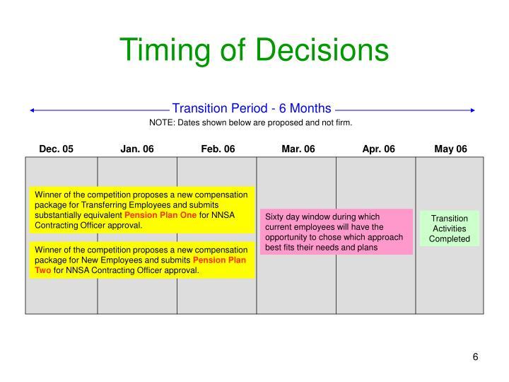 Transition Period - 6 Months