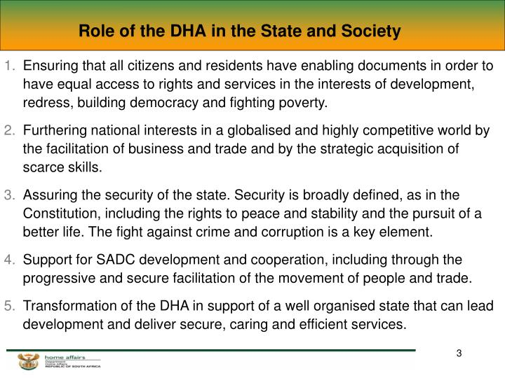 Role of the dha in the state and society