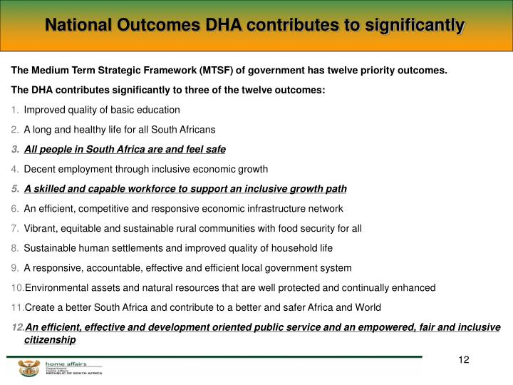 National Outcomes DHA contributes to