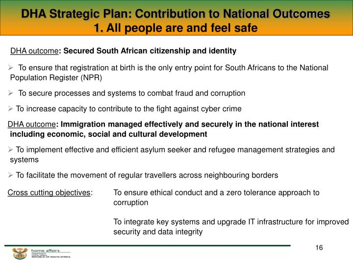 DHA Strategic Plan: Contribution to National Outcomes