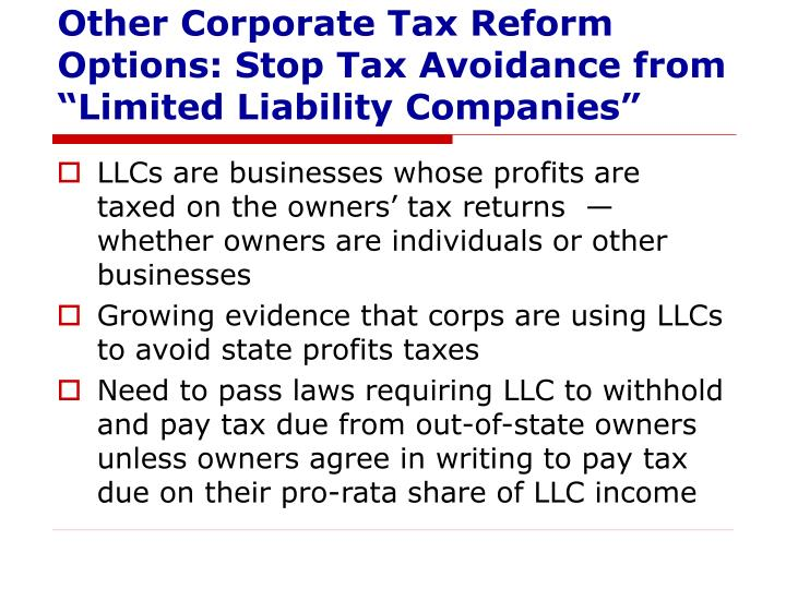 """Other Corporate Tax Reform Options: Stop Tax Avoidance from """"Limited Liability Companies"""""""