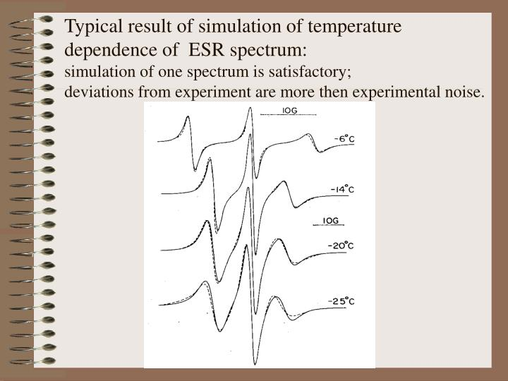 Typical result of simulation of temperature