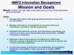 nmfs information management mission and goals