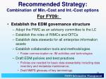 recommended strategy combination of min cost and int cost options