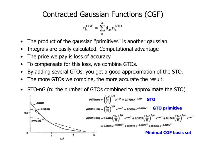 Contracted Gaussian Functions (CGF)