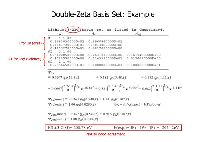 Double-Zeta Basis Set: Example