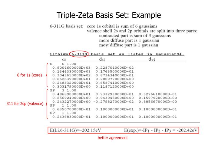 Triple-Zeta Basis Set: Example