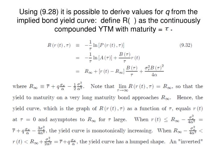 Using (9.28) it is possible to derive values for