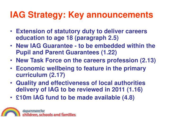 IAG Strategy: Key announcements