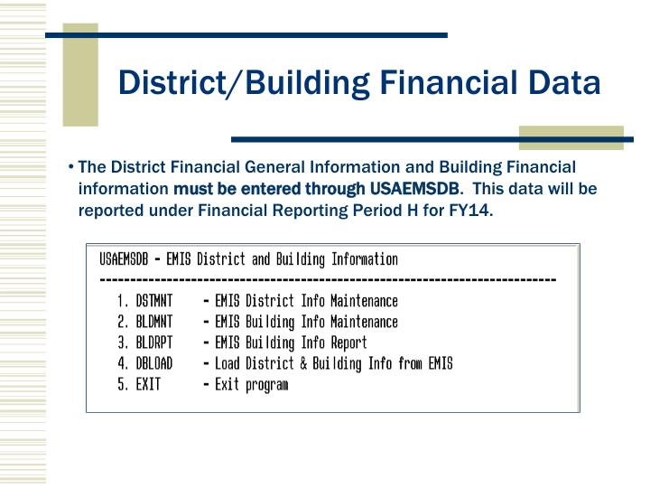 District building financial data