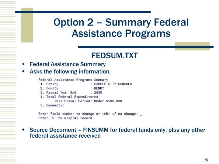 Option 2 – Summary Federal Assistance Programs