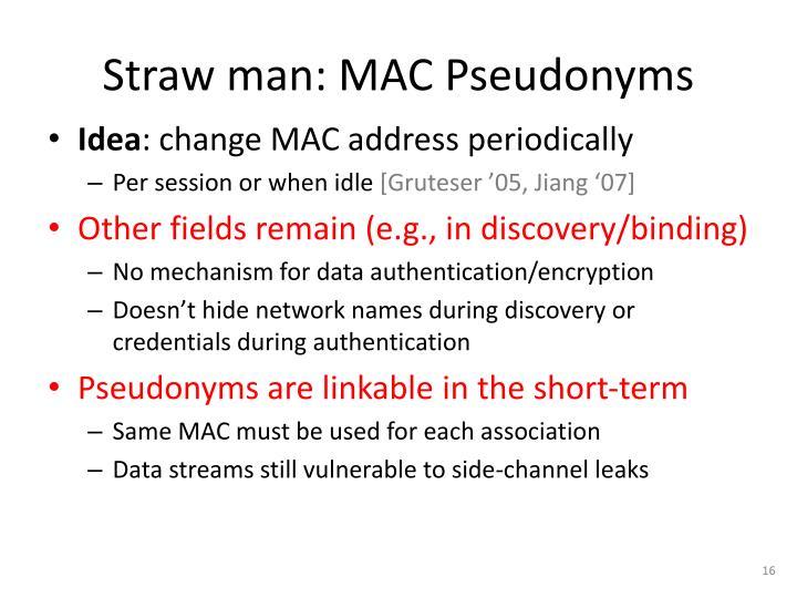 Straw man: MAC Pseudonyms