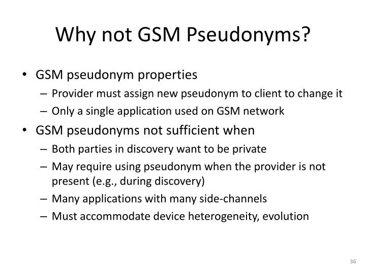 Why not GSM Pseudonyms?