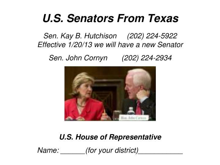 U.S. Senators From Texas