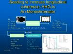 seeding to increase longitudinal coherence hhg in ar monochromator