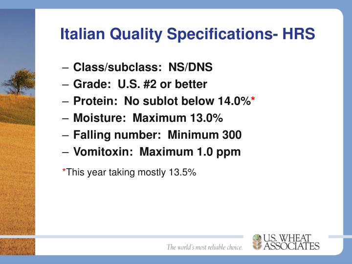 Italian Quality Specifications- HRS